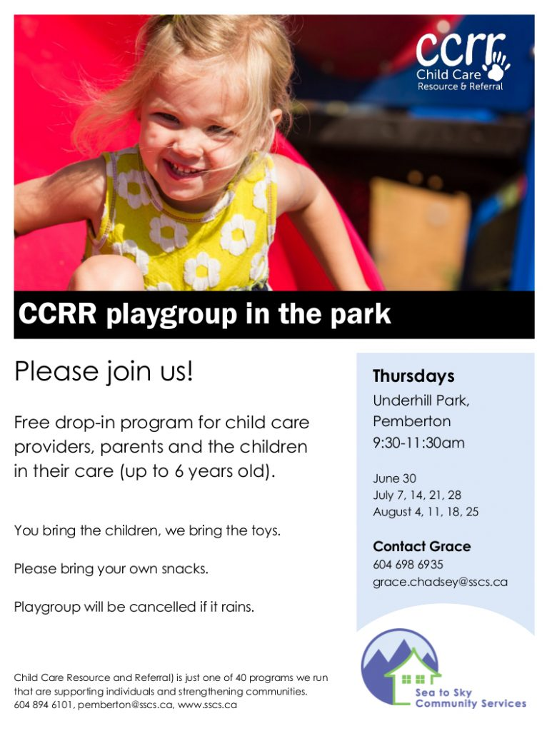 CCRR - Pemberton - outdoor playgroup - 2016